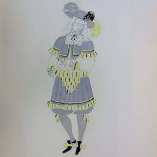 Suzanne LALIQUE (1892 -1989) - Costume à la mousquetaire, Dessin original signé