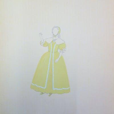 Suzanne LALIQUE (1892 -1989) - Costume d'infante, Dessin original signé