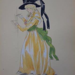 R. CHARBO - Robe féminine de promenade, Dessin original signé
