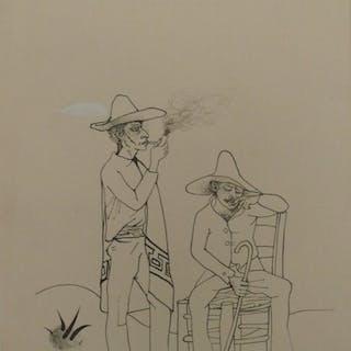 Pierre-Yves TREMOIS : Fumeurs de pipe - Dessin original, 1959