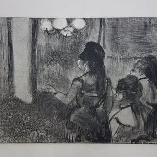 Edgar DEGAS : Trois femmes au salon - Gravure originale, 1935