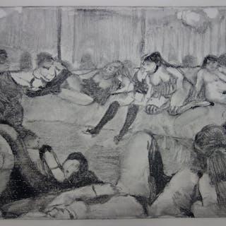 Edgar DEGAS : L'arrivée d'un client - Gravure originale, 1935