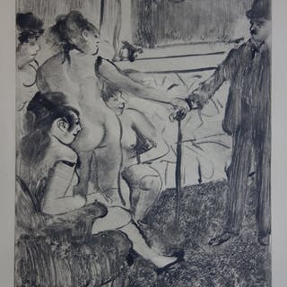 Edgar DEGAS : Un client timide - Gravure originale, 1935
