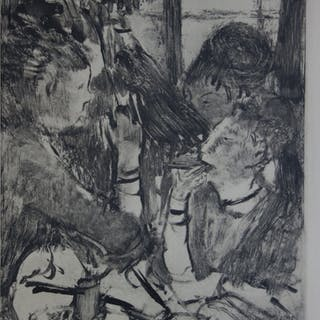 Edgar DEGAS : Filles partageant un repas - Gravure originale, 1935