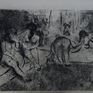 Edgar DEGAS : Scène obscène - Gravure originale, 1935