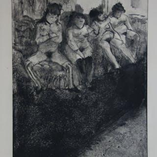 Edgar DEGAS : Timide ou provocante - Gravure originale, 1935