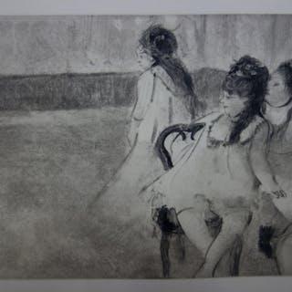 Edgar DEGAS : Filles habillées en danseuse - Gravure originale, 1935