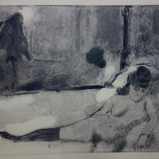 Edgar DEGAS : Le départ du client - Gravure originale, 1935