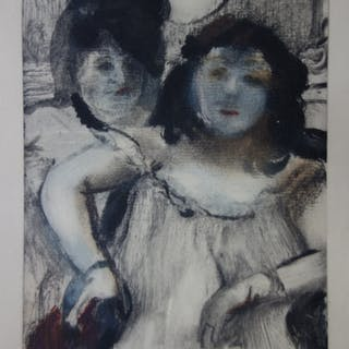 Edgar DEGAS (d'après) : Deux filles maquillées - Gravure originale, 1935