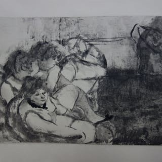 Edgar DEGAS : Les filles alanguies - Gravure originale, 1935