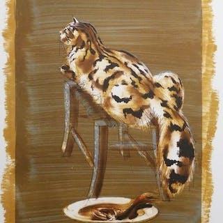"""Hans Erni """"Le chat et corbeille""""  Lithographie originale signée et"""
