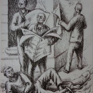 Jean HELION : Lecteurs de journaux, Lithographie originale signée