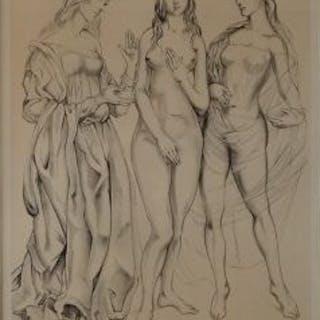 tsuguharu foujita trois graces lithographie signée justifiée  au crayonRépertori