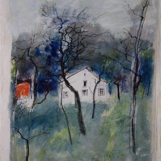 Bernard GANTNER : Maison en forêt - Aquarelle originale signée