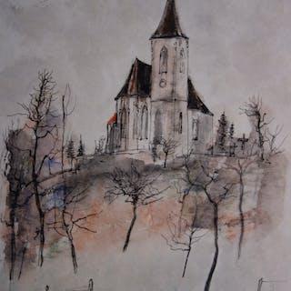 Bernard GANTNER : La petite église - Aquarelle originale signée