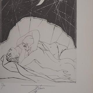 Pierre-Yves TREMOIS - Couple au clair de lune, gravure originale signée