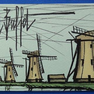 Bernard BUFFET : Les moulins - Lithographie originale Signée