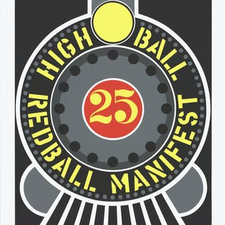"Robert Indiana ""Highball on the Redball Manifest"", 1997, sérigraphie"