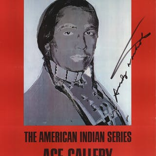 """Andy Warhol """"American Indian (Red)"""" , 1977 Hand signed Offset Lithograph"""