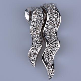 Pendentif en Or blanc 18 ct ( 750/1000) 24 diamants ronds à 0,01 ct