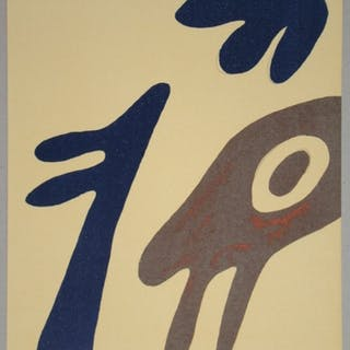 JEAN ARP - Lithographie originale - Tête, torse et nombril sur table - 1962