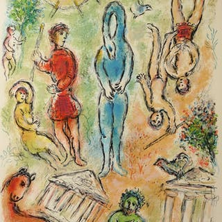 Marc Chagall : L'Odyssée, En Enfer - Lithographie originale (1975)