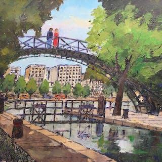 Roland HAMON : Le canal St-Martin,huile sur toile signée