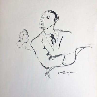 """Yves BRAYER - """"Scène de cabaret"""" - Dessin original signé"""