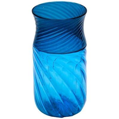 """Vase en verre de Murano bleu signé """"Venini"""""""