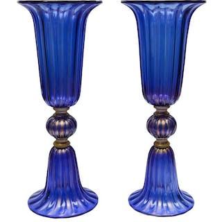 Paire de vases en verre de Murano