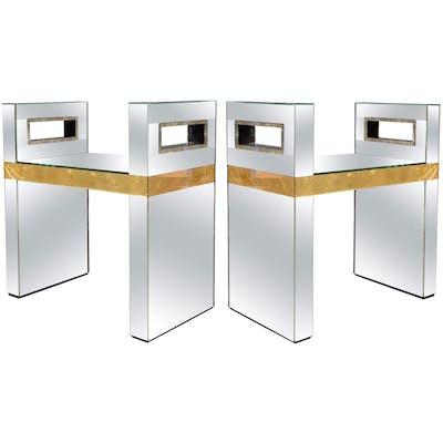 Travail Italien, Paire de bancs en miroir, 2000