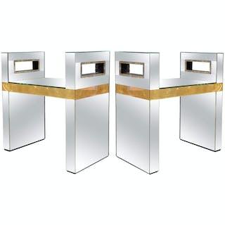 Paire de bancs tout miroir