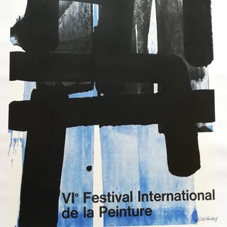 Affiche lithographie Exposition Pierre Soulages Cagnes 1974