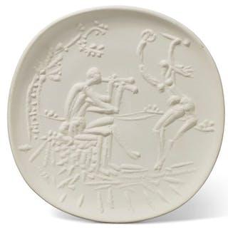 Pablo Picasso : Joueur de diaule et faunesse - Céramique signée - Madoura