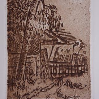 Paul Cézanne : Paysage à Auvers-sur-Oise, entrée de ferme - Gravure