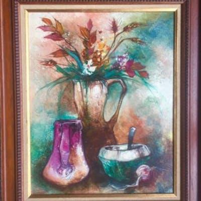 Claude DUMONT - huile sur Toile - bouquet de fleurs