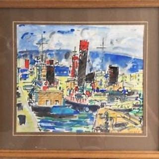 Robert SAVARY, Le Calvi et autres bateaux au port, 1960, Aquarelle