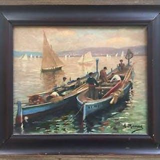 Anne MOURRE : Barques dans la baie d'Alger ,  huile sur toile signée