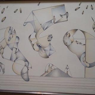 """Jan Voss """"composition"""" lithographie originale en couleurs encadrée"""