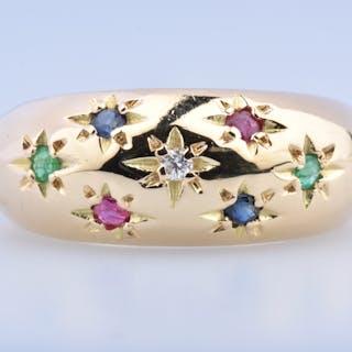 Bague en or 18 carats (750 millièmes) ornée d'1 diamant rond brillant