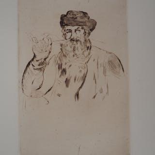 Edouard MANET : Homme à la pipe - Gravure originale, 1866