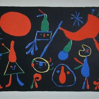 JOAN MIRO (d'après) - Personnages- Lithographie en couleurs - 1949