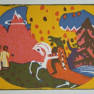WASSILY KANDINSKY - Berge / Montagnes - Gravure sur bois originale - 1913