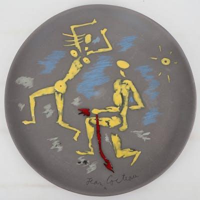Jean COCTEAU - Atalante et Hippomème Céramique originale signée 1958