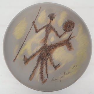 Jean COCTEAU - Don Quichotte, Céramique originale signée