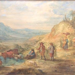 """A. MARTINS - """"Scène paysanne"""" - Circa 1650 - Huile sur panneau signée"""
