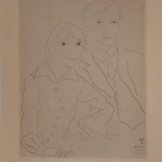 Léonard FOUJITA : Les mariés - Gravure originale signée, 1926