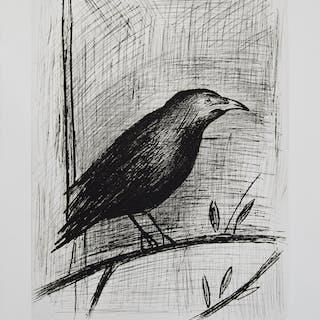 Bernard BUFFET - Le corbeau, Gravure originale signée