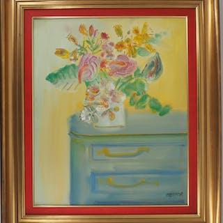 Blasco MENTOR : Bouquet d'arums sur la commode - Huile sur toile Signée