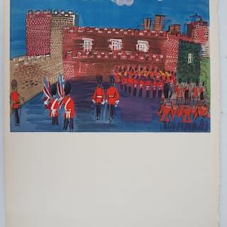 Raoul DUFY - St James, soldats anglais - Lithographie signée